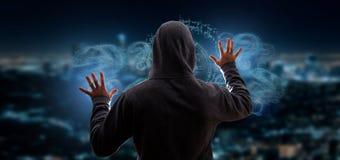 En hacker som aktiverar frågefläcken Royaltyfria Foton