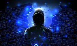 En hacker som använder den internet hackade abstrakta datoren, databas, nätverkslagring, firewall, socialt nätverkskonto, stöld a stock illustrationer