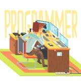 En hacker som arbetar på en bärbar dator, vektorillustration royaltyfri illustrationer