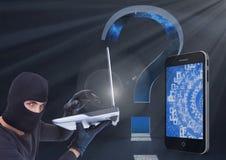 En hacker som framme använder en bärbar dator av digital bakgrund med den digitala smartphone- och frågefläcken royaltyfri bild