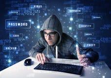 En hacker som programmerar i teknologimiljö med cybersymboler Arkivfoto