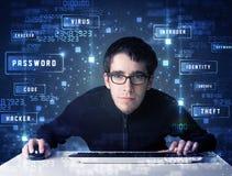 En hacker som programmerar i teknologimiljö med cybersymboler Royaltyfria Bilder