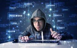 En hacker som programmerar i teknologimiljö med cybersymboler Arkivfoton