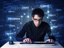 En hacker som programmerar i teknologimiljö med cybersymboler Fotografering för Bildbyråer