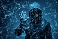 En hacker som stjäler dollar från banken Royaltyfria Bilder