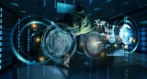 En hacker som tar fram till personlig information om data med en dator 3D Fotografering för Bildbyråer