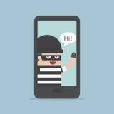 En hacker tjuv Hacking Smartphone, affärsidé Fotografering för Bildbyråer