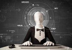 En hacker utan identitet i futuristisk miljödataintrångimage fotografering för bildbyråer