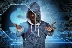 En hackerdataintrånget som packar ihop det finansiella systemet Royaltyfria Bilder