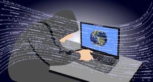 En hackermaskinskrivning p? en b?rbar dator Farligt frambragt Teknologikommunikation stock illustrationer