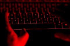 En hackermaskinskrivning på det upplysta tangentbordet vid natt Arkivfoton