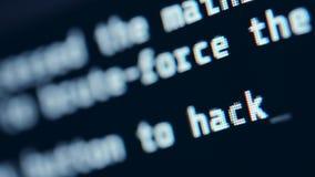 En hackerskärmCloseup Hacka språkbegrepp stock video
