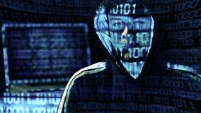 En hackerstående som visas arkivfilmer