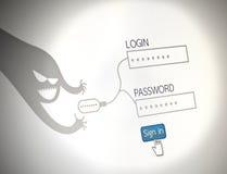 En hackerstöldlösenord föreställer begrepp av säkerhet, websit Fotografering för Bildbyråer