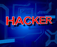 En hackertecknet visar obehörig Spyware och Cyber Arkivbild