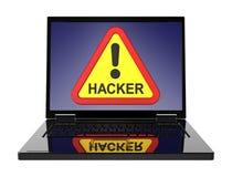 En hackervarningstecken på bärbar datorskärmen vektor illustrationer