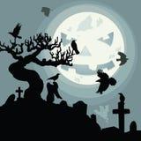 En Halloween natt i kyrkogården Royaltyfri Foto