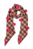 En halsduk är woolen från tyg i en cell med rosa buboes fotografering för bildbyråer
