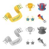 En halsduk, en hatt med horn och andra attribut av fansen Fans ställde in samlingssymboler i tecknade filmen, monokrom stilvektor Royaltyfri Bild