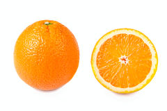 En halve geïsoleerder sinaasappelen Stock Foto's