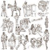 En hand dragen packe, linje konst - FOLK Royaltyfri Foto