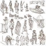 En hand dragen packe, linje konst - FOLK Fotografering för Bildbyråer