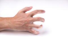 En hand med öppna fingrar som griper emptyness Royaltyfria Foton