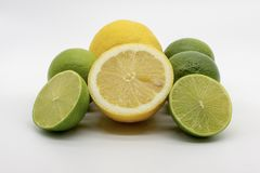 En hand mycket av citroner och limefrukter arkivfoto