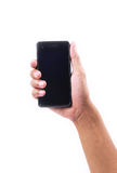 En hand på den smarta telefonen Royaltyfri Bild