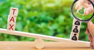En hand sätter träkvarter med euro på våg och ordskatten Begrepp av lyckad skattbetalning Skuldåterbetalning Register av fotografering för bildbyråer