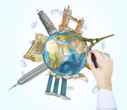 En handteckning skissar av de mest berömda ställena i världen Ett begrepp av turism och sighten för fractalbild för bakgrund blå  Arkivbilder