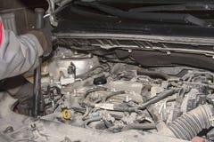 En handtekniker som kontrollerar eller fixar motorn av en modern bil royaltyfri fotografi