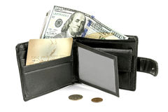 En handväska med ett plast- kort och pengar Arkivbild