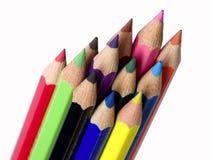En haut par des crayons de couleur Photo libre de droits