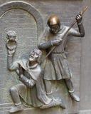 En haut relief à la porte occidentale de la cathédrale de St Vitus Image libre de droits