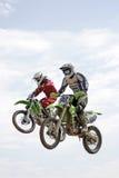 En hauteur sur la motocyclette Image libre de droits