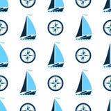 En havsmodell med ett skepp och en kompass Sömlös bakgrund i en marin- stil royaltyfri illustrationer