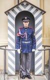 En hedersvakt på stolpen på ingången till presidentpalatset i den Prague slotten Royaltyfria Foton