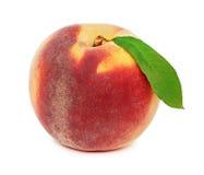 En hel mogen persika med (det isolerade) gröna bladet, Arkivbild