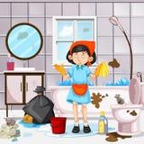 En hembiträde Cleaning Dirty Bathroom royaltyfri illustrationer