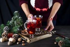 En hembra da la bandeja con el vino reflexionado sobre caliente Foto de archivo libre de regalías