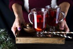 En hembra da la bandeja con el vino reflexionado sobre caliente Fotografía de archivo