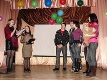 En hemkomst på en lantlig skola i den Kaluga regionen i Ryssland Arkivbild