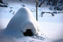 En hemlagad igloo nära enstolpe royaltyfri fotografi