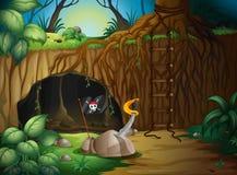 En hemlig grotta i träna royaltyfri illustrationer