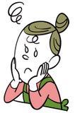 En hemmafru som besväras och vilas hennes haka i hennes händer stock illustrationer
