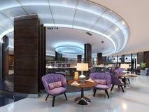 En hemtrevlig kafeteria i lobbyen med bekväma stoppade stolar och en tabell med en lampa vektor illustrationer