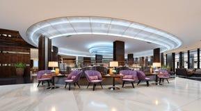 En hemtrevlig kafeteria i lobbyen med bekväma stoppade stolar och en tabell med en lampa royaltyfri illustrationer