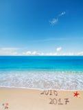 2016 en 2017 in het zand Stock Afbeelding