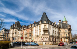 En historisk byggnad i Luxembourg Arkivfoton